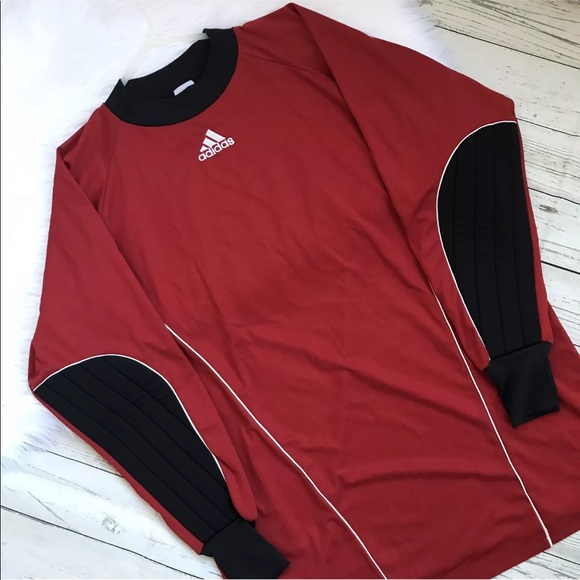 Vintage Adidas Goalie Jersey Red Blk Padded Elbow